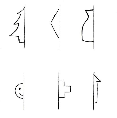 Only half of the images below are shown. Draw the other half using ...